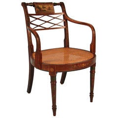 Regency Painted Armchair with Caned Seat, Deuce & Co.