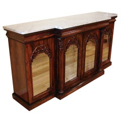 English Rosewood Breakfront Side Cabinet with Marble Top