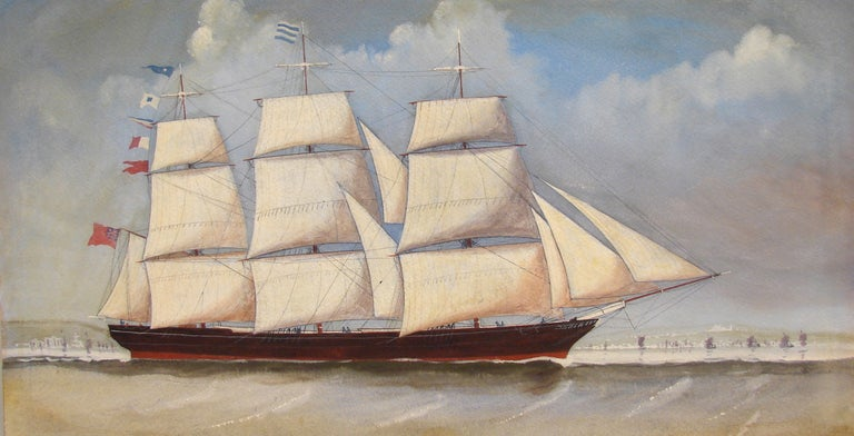 19th Century English Watercolor of a  Sailing Ship For Sale