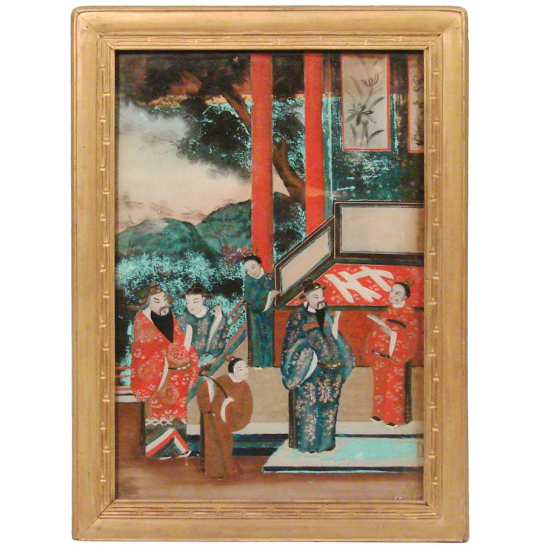 Chinese Export Reverse Painting On Glass At 1stdibs