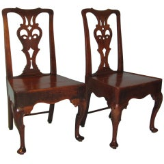Pair of George II Provincial Oak Side Chairs With Plank Seats