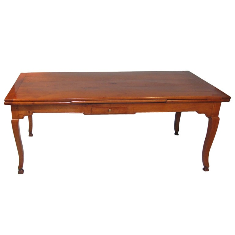 French Provincial Friutwood Draw Leaf Farm Table With: dining table with drawer