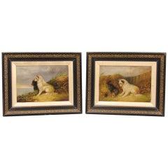 Pair Of Terrier Oil Paintings By J. Langlois