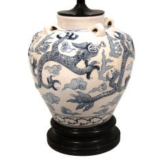 Large Chinese Blue And White Porcelain Table Lamp