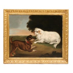 English School Oil on Canvas of Two Dogs