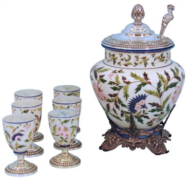 English Aesthetic Movement Punch Bowl, Ladle and Glasses