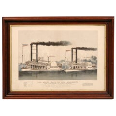 """Currier and Ives Lithograph """"The Great Race on the Mississippi"""""""