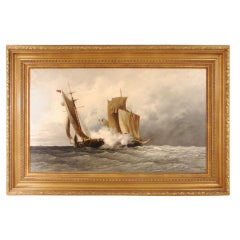 Naval Battle  Oil on Canvas by Jules D'Ivernois.