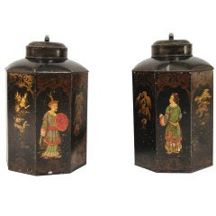 Pair of Chinese Export Hexagonal Tea Canister Lamps