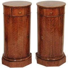 Pair Louis Philippe Mahogany Pedestal Cabinets