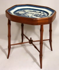 Mounted Chinese Export Octagonal Blue Canton Platter