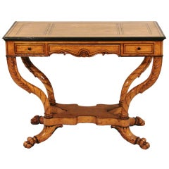 Charles X Inlaid Birch Writing Table