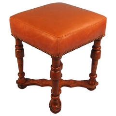 William and Mary Leather Upholstered Walnut Stool