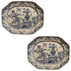 Pair of Large  Chinese Export Blue and White Platters