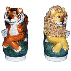 Charming Stafforshire Style Lion and Tiger Ceramic Figurines
