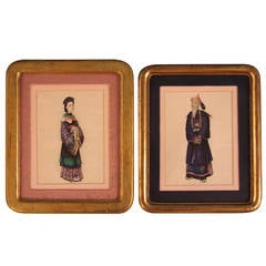 Pair of Chinese Export Paintings on Pith Paper