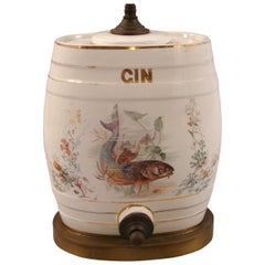 English Victorian Porcelain Gin Dispenser with Trout Decoration