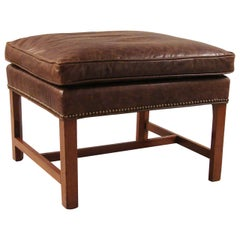 George III Mahogany Bench Upholstered in Leather