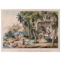 """Amusing Currier and Ives Print, """"Robinson Crusoe and His Pets"""""""