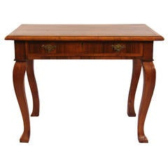 Queen Anne Provincial Walnut Table with Drawer