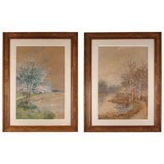Louis Harlow Pair of Large Watercolors