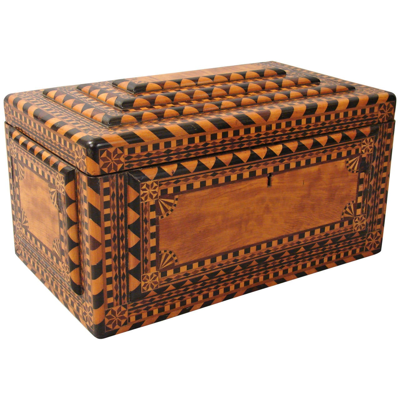 Fine And Large Continental Inlaid Satinwood Jewelry Box At