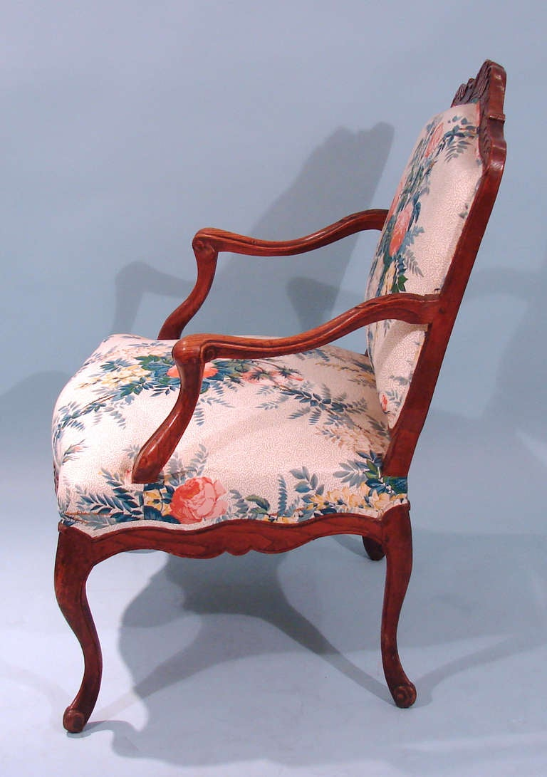 20th Century Louis XV Style Oak Armchair For Sale