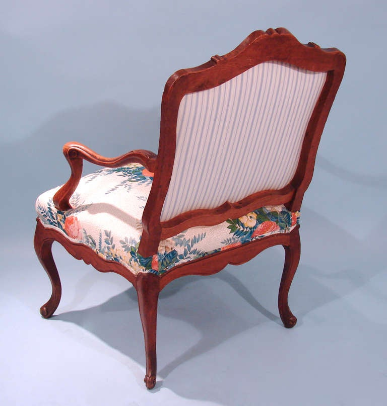 Louis XV Style Oak Armchair For Sale 1