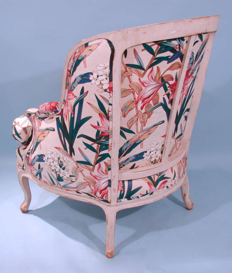 Louis XV Style Painted Bergere with Down Upholstery In Good Condition For Sale In San Francisco, CA