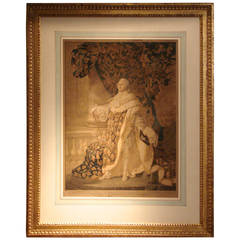 Impressive Gilt Framed Engraving of Louis XVI after Callet