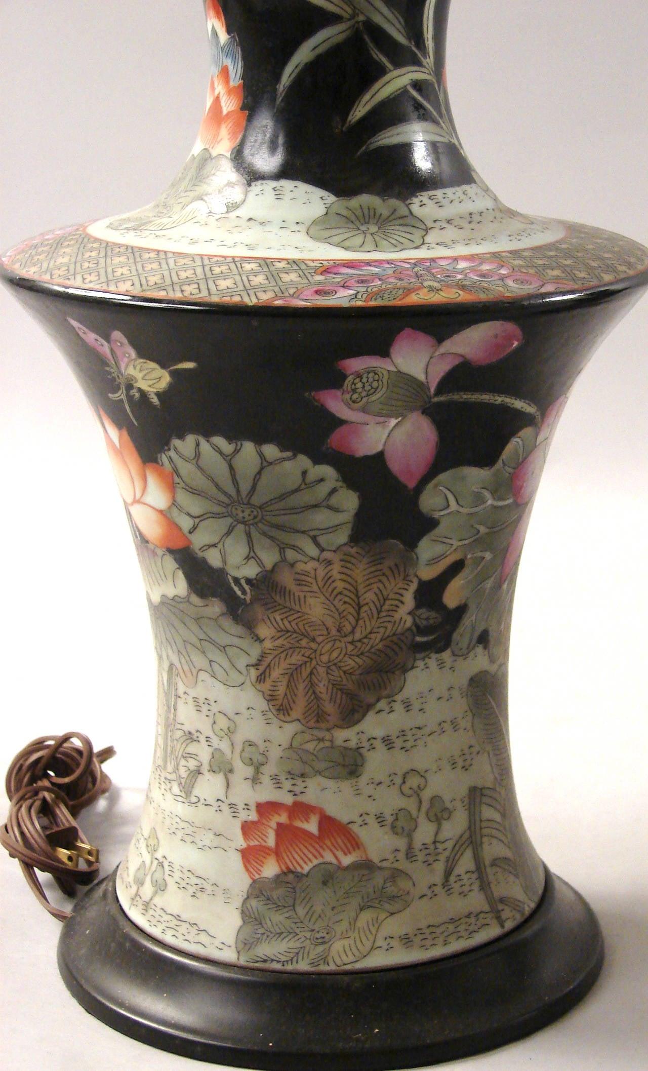 chinese famille noir vases as lamps at 1stdibs. Black Bedroom Furniture Sets. Home Design Ideas