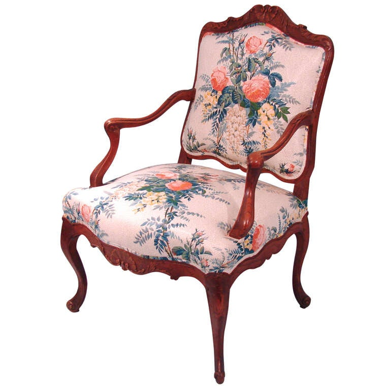 Louis XV Style Oak Armchair For Sale