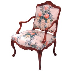 French Louis XV Style Oak Armchair Upholstered in Polished Cotton Fabric