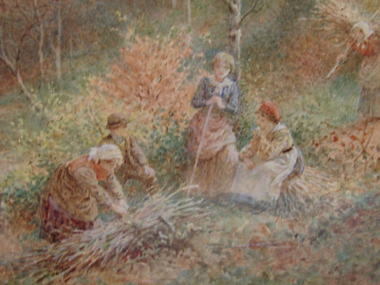 Victorian Lovely English Watercolor by Charles Gregory in Period Frame For Sale