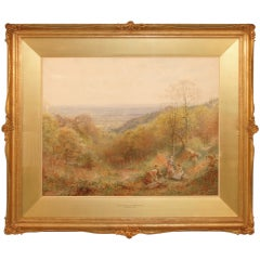 Lovely English Watercolor by Charles Gregory in Period Frame