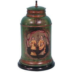 Tole Green Painted Tea Canister Lamp
