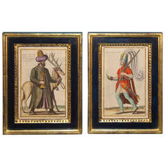 Pair of Copperplate Engravings of 16th Century Men in Arab Dress