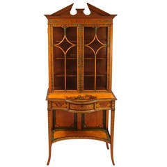 FIne Quality English Painted Satinwood Cabinet on Stand