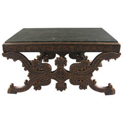 Continental Painted Marble-Top Low Table