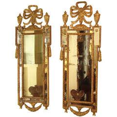 Fine Pair of Italian Neoclassical Giltwood Mirrors