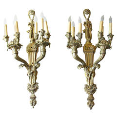 Pair of French Louis XVI Style Gilt Brass Sconces of Large Scale