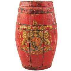Painted English Barrel with English Coat of Arms