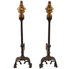 Pair of Gothic Style Parcel-Gilt Andirons with Gilt Lion Finials