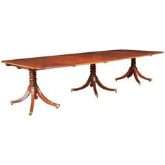 Fine Regency Mahogany Three Pedestal Dining Table