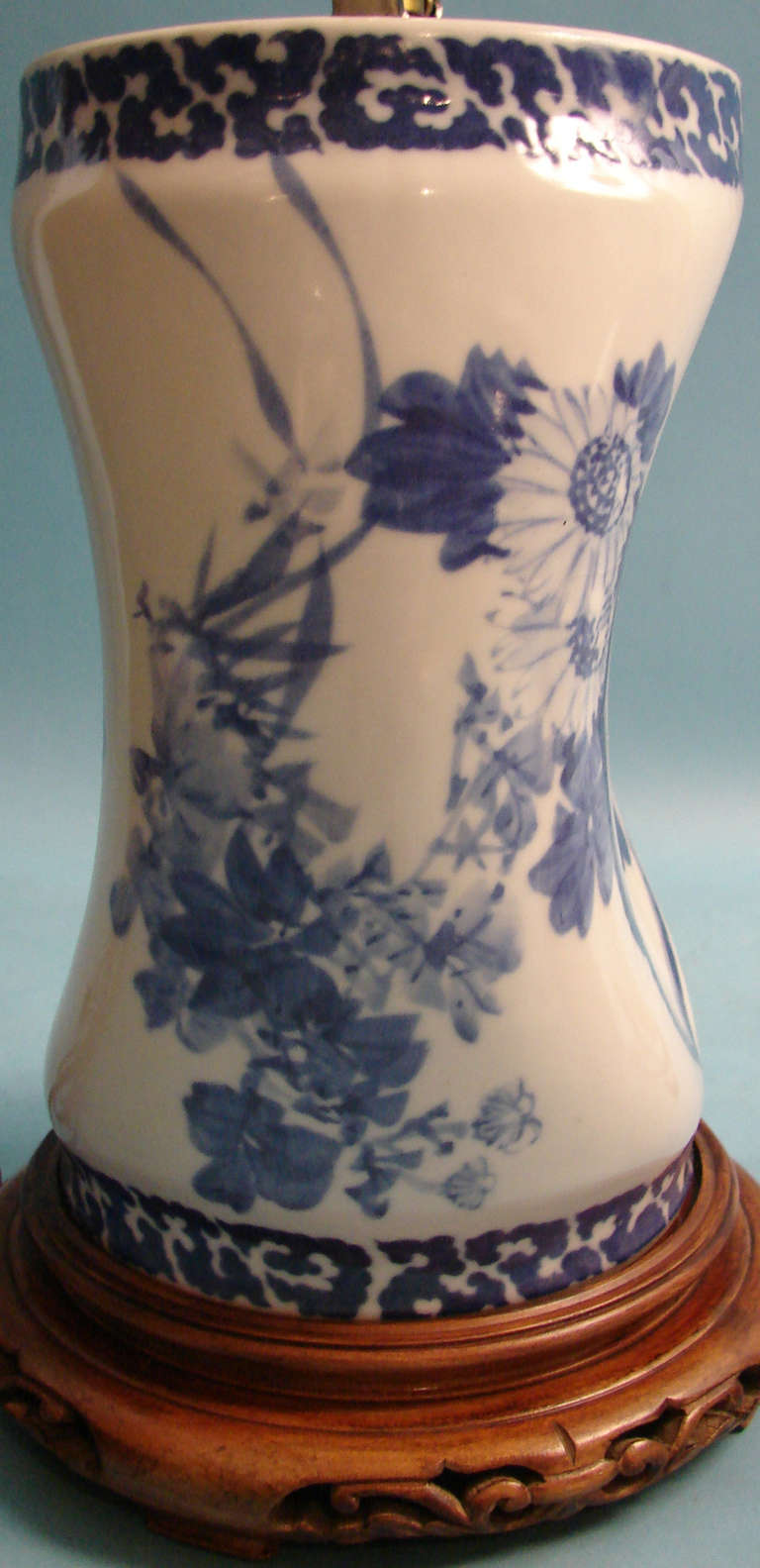 Pair Of Chinese Porcelain Blue And White Pillows As Lamps