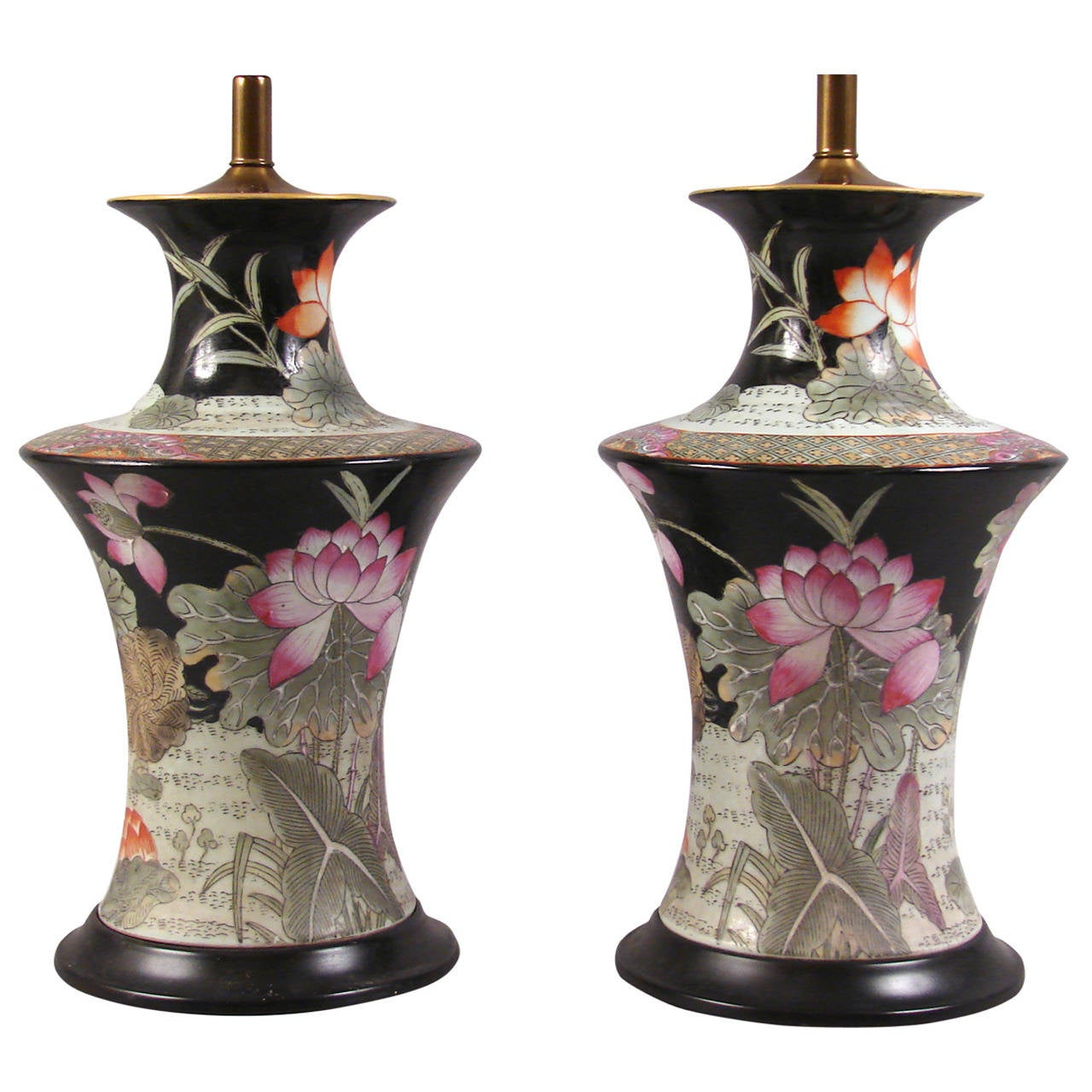 chinese famille noir vases as lamps at 1stdibs. Black Bedroom Furniture Sets. Home Design Ideas