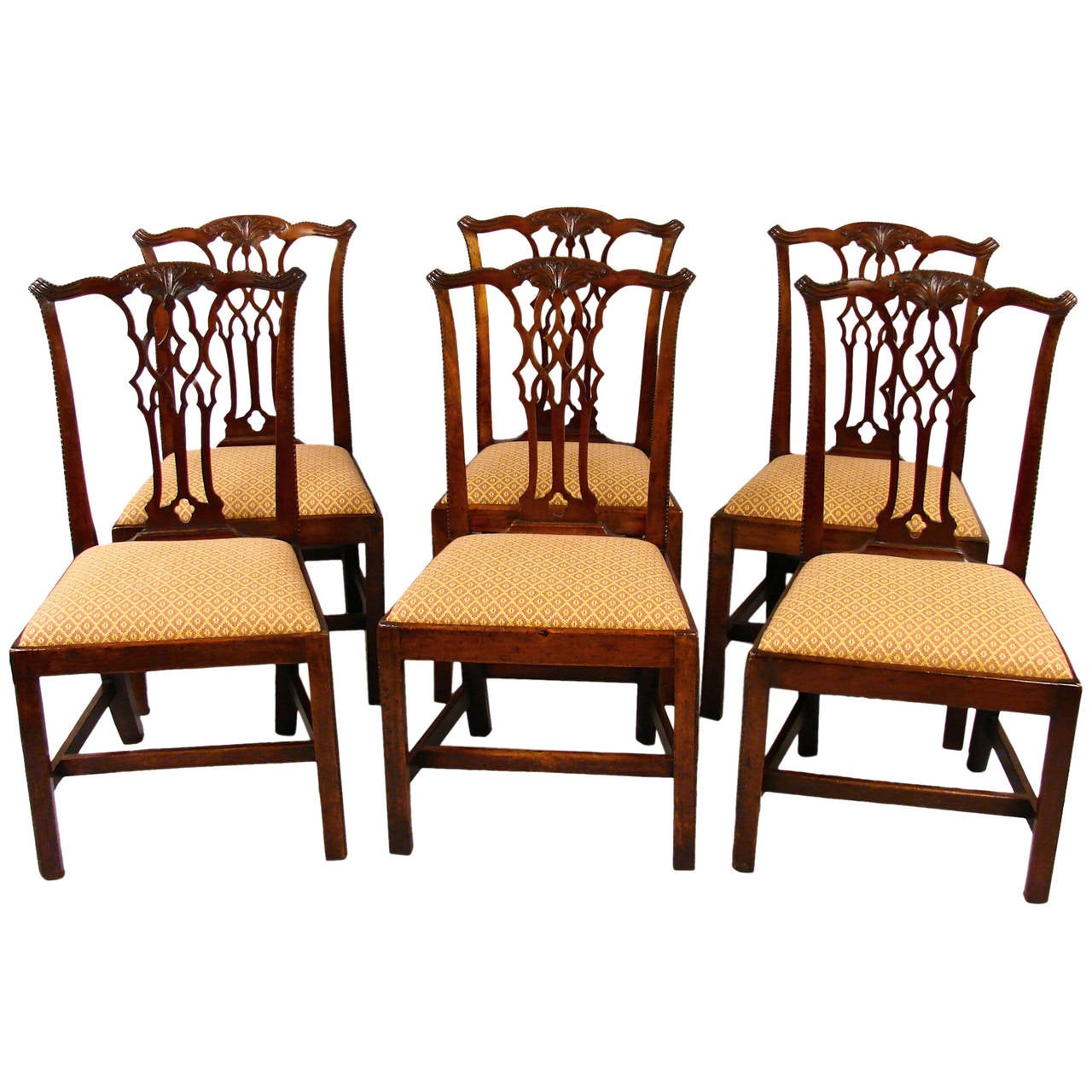 Eight chippendale mahogany dining chairs at 1stdibs for Seating room furniture
