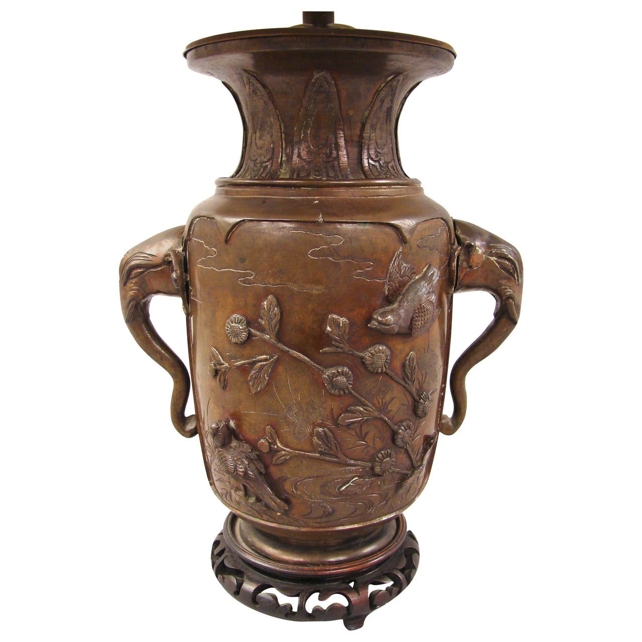 Japanese Bronze Vase with Elephant Head Handles now Electrified
