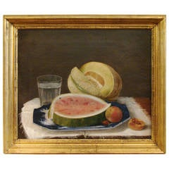 American Still Life Oil on Canvas with Watermelon, Cantelope and Peaches