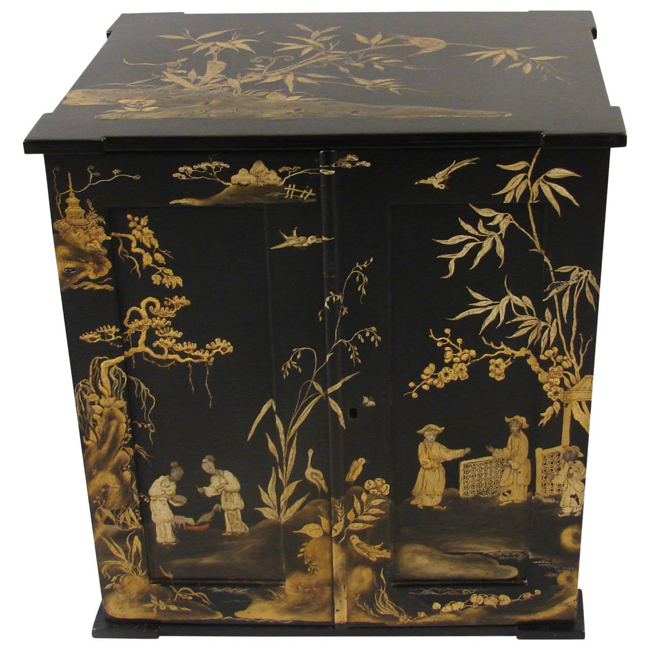 English Chinoiserie Papier Mache Table Cabinet By Jennens And Bettridge At 1stdibs